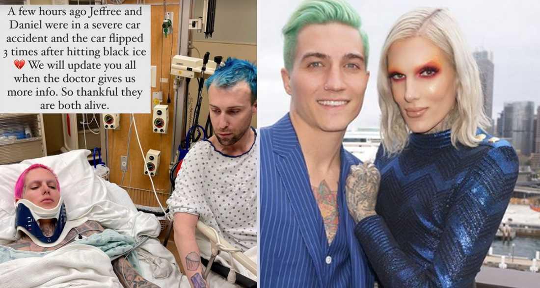 Jeffree Star vårdas på sjukhus efter en bilolycka. På bilden bredvid syns han tillsammans med sitt ex Nathan Schwandt.