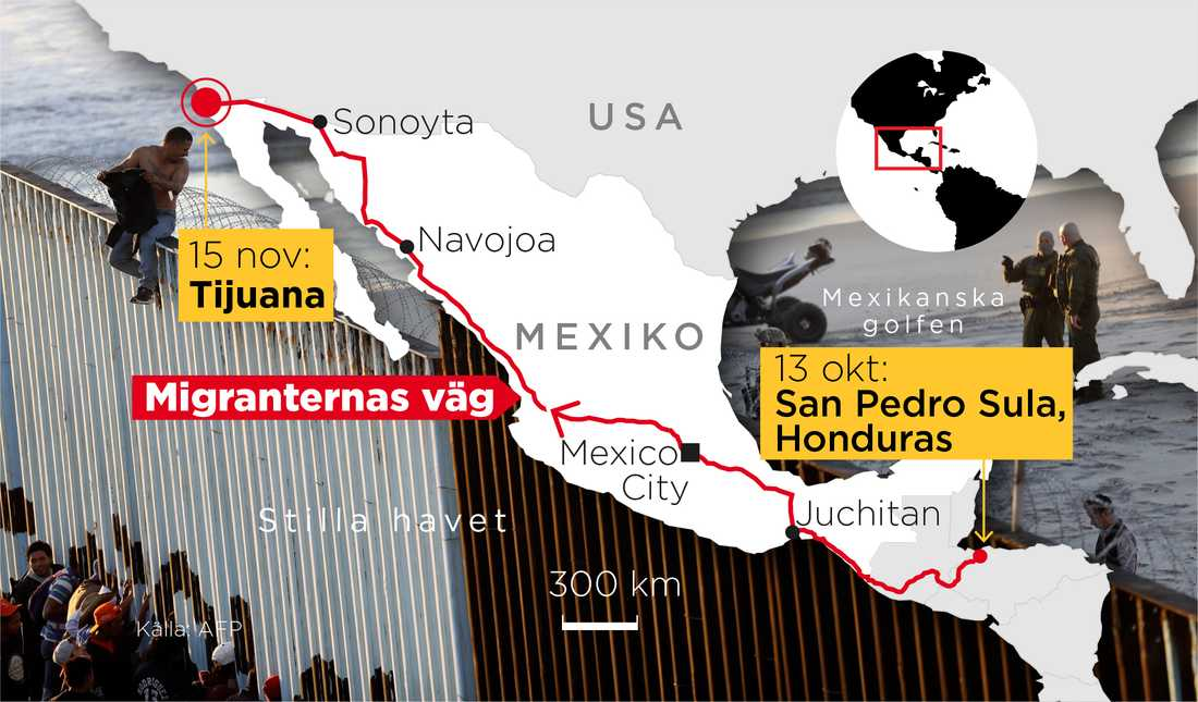 Migranternas väg genom Centralamerika och Mexiko.