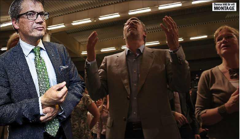 ETT SÄNKE FÖR ALLIANSEN Efter valet står nästan en fjärdedel av Kristdemokraternas riksdagsledamöter nära Livets ord och dess ledare Ulf Ekman (i mitten på bilden). De konservativa inom KD utmanar nu Göran Hägglund och partiledningen, vars ställning är svagare än någonsin. Foto: LOTTE FERNVALL och TERESIA BRÅKENHIELM