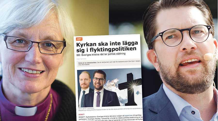 Jag förstår frustrationen, Jimmie, att den kyrka som bär namnet Svenska kyrkan inte låter sig användas till en nationalistisk och islamfientlig agenda. Men jag är rädd att den strategi som du använder i din artikel motverkar det som du säger dig vilja verka för: svenska folkets väl, skriver ärkebiskop Antje Jackelén.