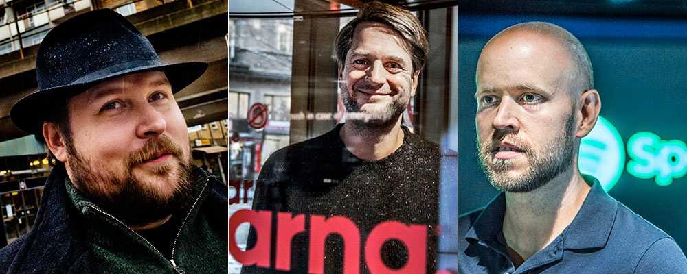 """Markus """"Notch"""" Persson, grundare av spelbolaget Mojang, Sebastian Siemiatkowski, grundare och storägare i Klarna och Daniel Ek, medgrundare och vd för Spotify."""