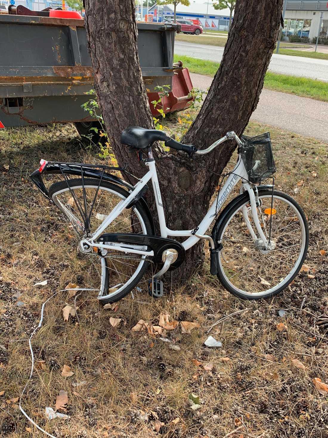 Linnéas cykel efter olyckan.