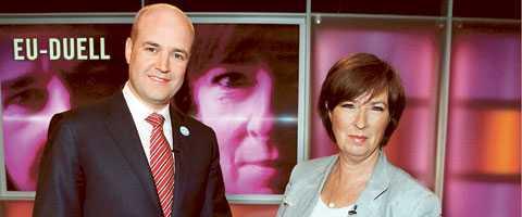 Statsminister Fredrik Reinfeldt och oppositionsledaren Mona Sahlin möttes i går kväll i en EU-debatt i SVT:s Agenda.