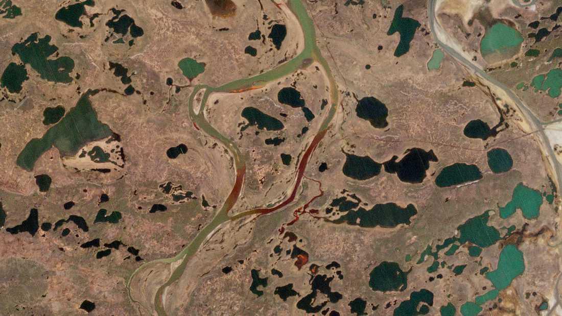 Vattendrag nära Norilsk som färgats röda av den läckta dieseloljan. Bilden är från Europeiska rymdorganisationen (ESA).