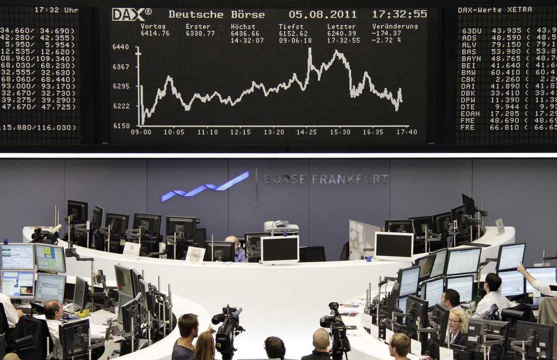 Dystert på Frankfurtbörsen vid stängning i fredags.