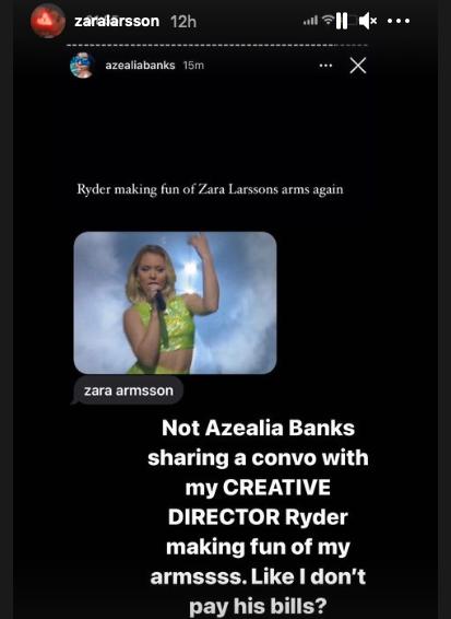 Azealia Banks skärmdump från konversationen med fästmannen Ryder Ripps, som Zara Larsson delat vidare.