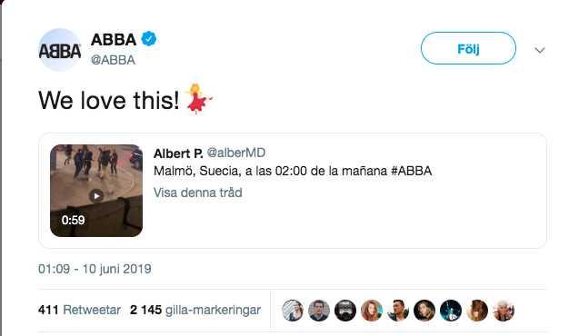 Videon delades från Abbas officiella twitterkonto.
