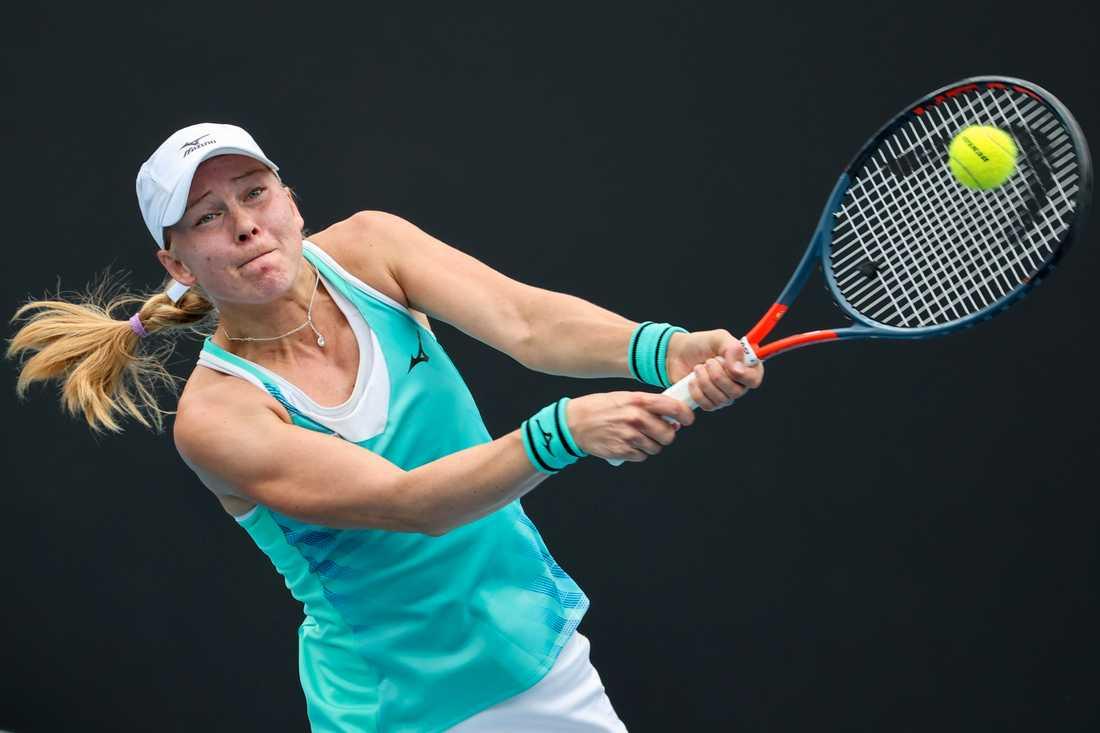 Johanna Larsson under förlustmatchen mot Paula Badosa.