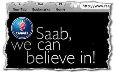 Budskapet på Rescue Saabs hemsida.