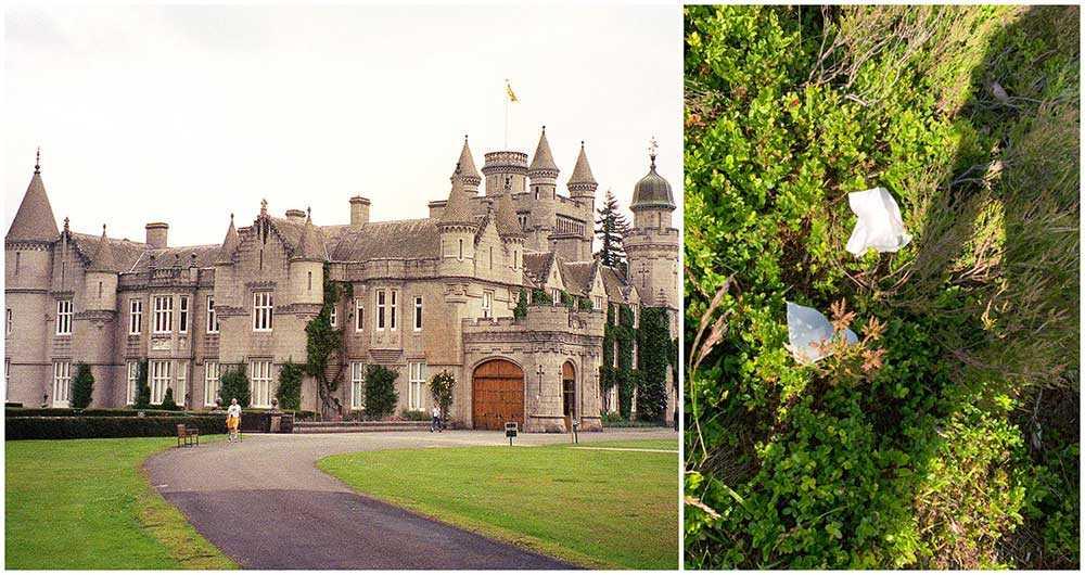 Besökare gör sina behov på slottets mark.