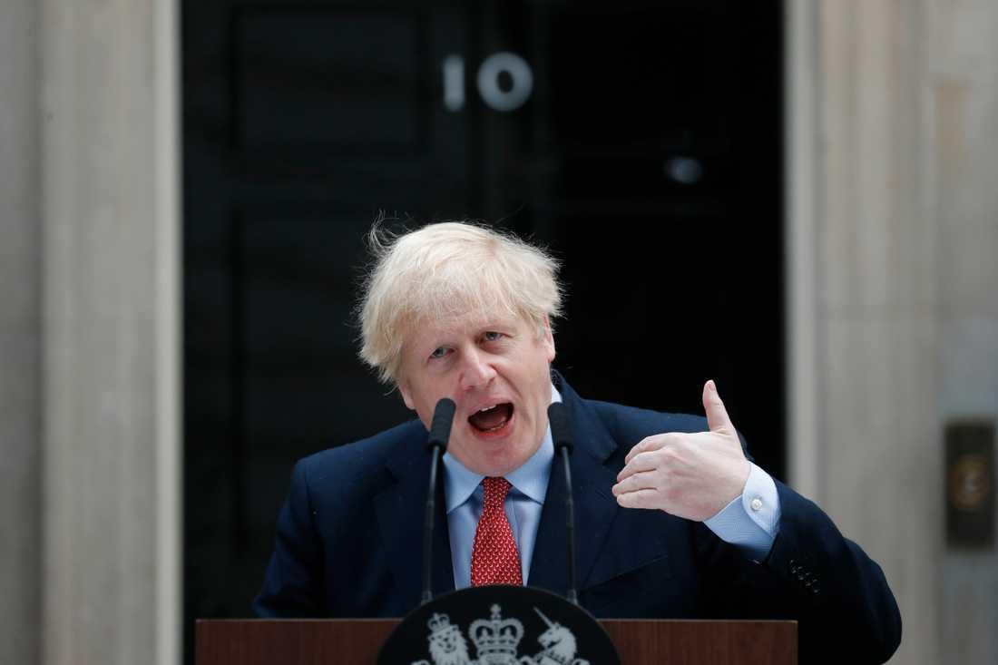 Storbritanniens premiärminister Boris Johnson vid sitt första officiella tal efter att ha tillfrisknat från coronaviruset.