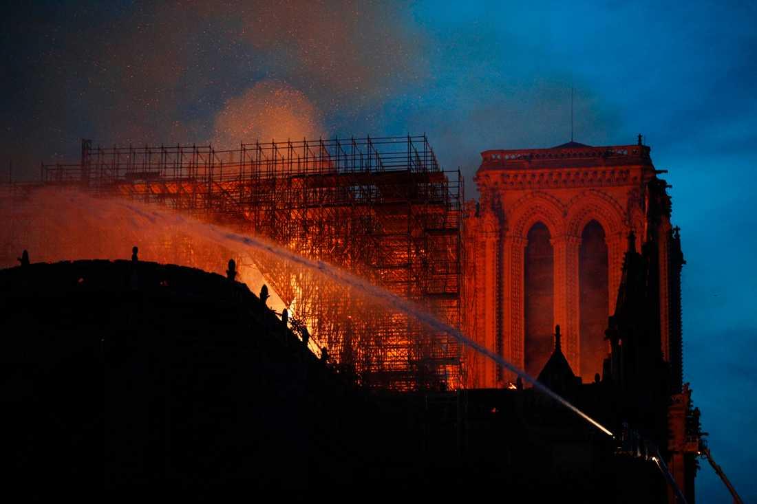 Delar av katedralen Notre-Dames tak förstördes i branden för över två veckor sedan. Arkivbild.