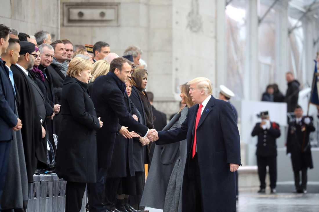 USA:s president Donald Trump besökte Frankrike i helgen och träffade Frankrikes president Emmanuel Macron och Tysklands förbundskansler Angela Merkel.