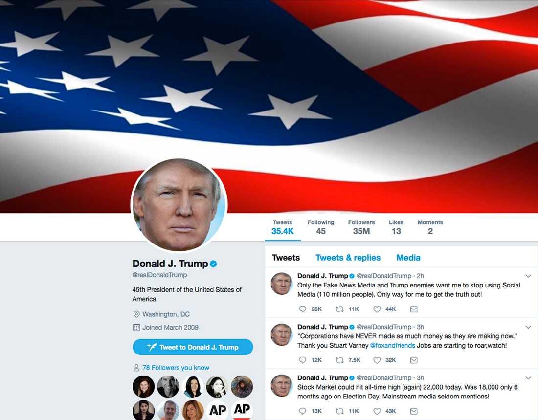 USA:s president Donald Trump på Twitter. Arkivbild.