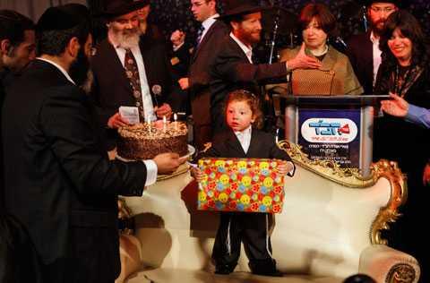 Treårsdagen Moshe Holtzberg firade sin tre årsdag tillsammans med familjen.