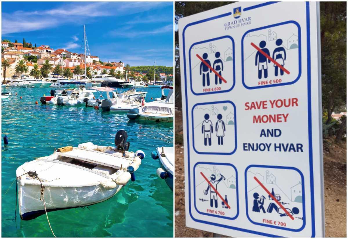 Ön Hvar i Kroatien har infört dryga böter för berusade och lättklädda turister.