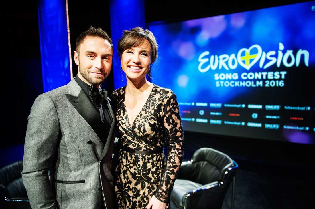 Måns Zelmerlöw och Petra Mede är programledare för Eurovision Song Contest 2016 i Stockholm.