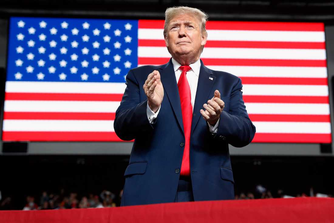 USA:s president Donald Trump under ett valmöte tidigare i veckan.