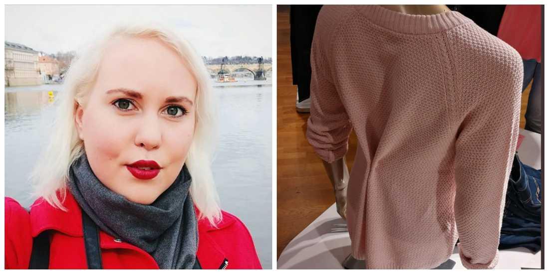 Elin reagerade när hon såg MQ:s insydda tröja.