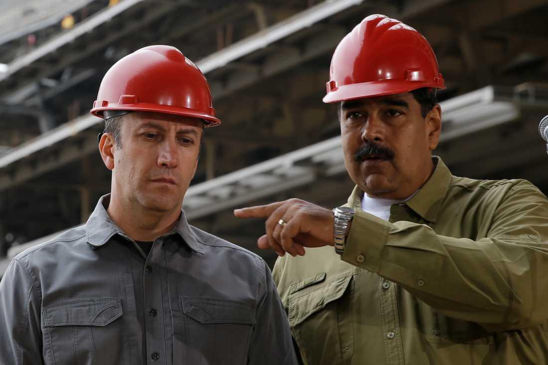 Venezuelas nya oljeminister Tareck El Aissami tillsammans med president Nicolás Maduro. Arkivbild.