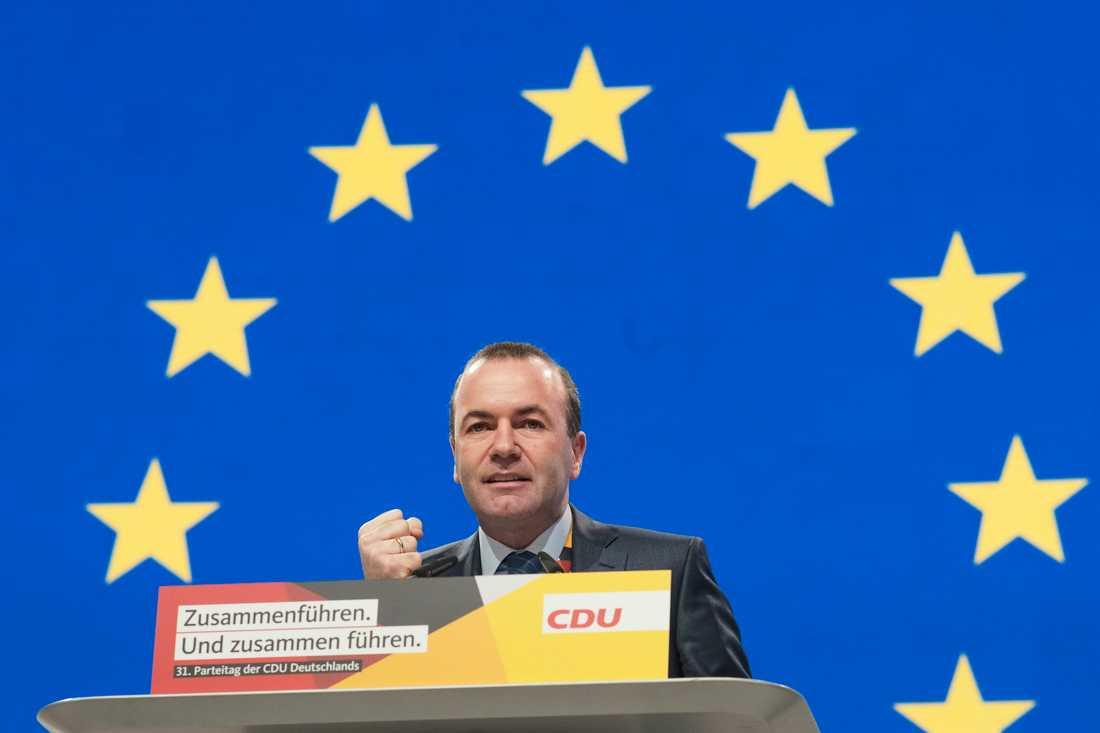 Bayerske CSU-politikern Manfred Weber är gruppledare för kristdemokratiskt konservativa EPP i EU-parlamentet och hoppas bli nästa ordförande i EU-kommissionen. Arkivfoto.