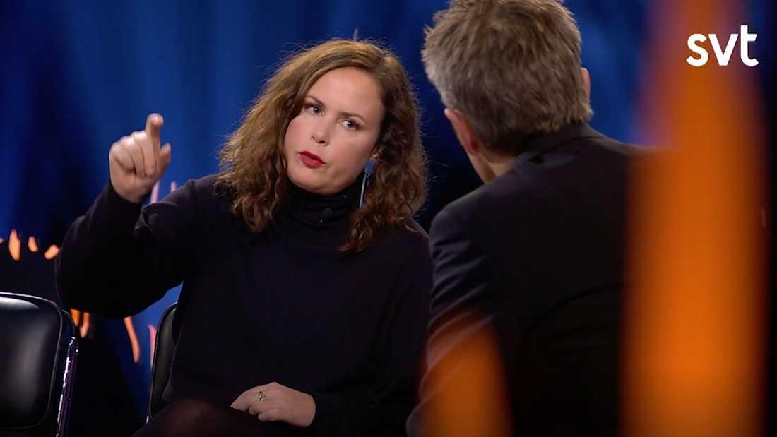 """Radioprofilen Hanna Hellquist talar ut i """"Skavlan""""."""