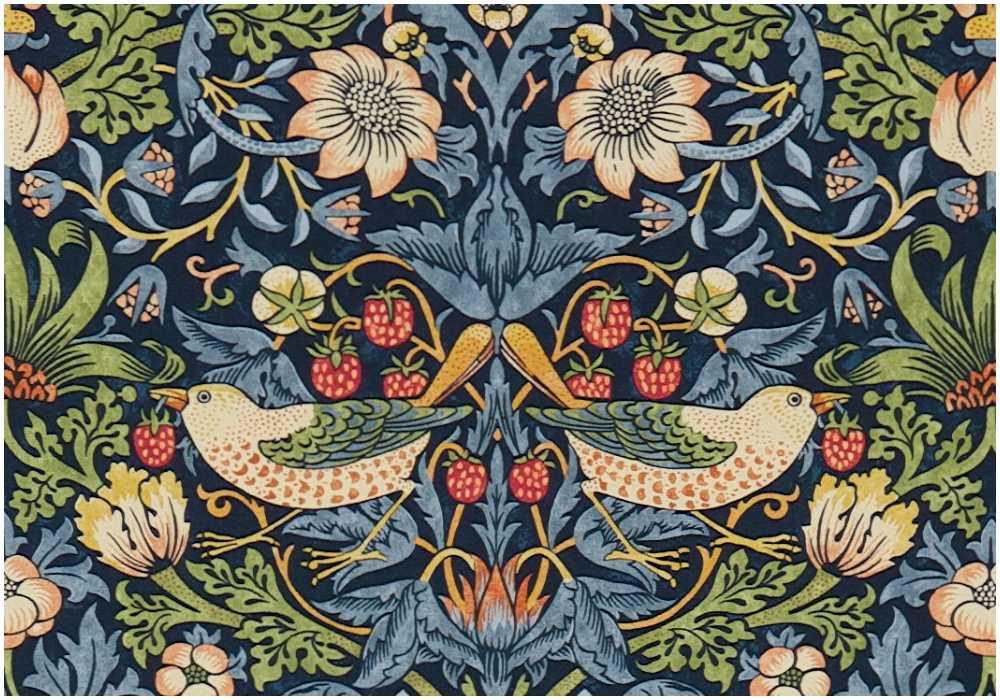 """""""Strawberry thief"""" av William Morris tillkom runt 1883 och är ett av hans mest kända mönster och finns både som tyg och tapet."""