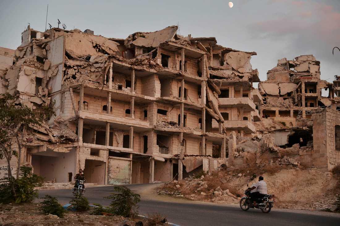 Kriget har satt sina spår i staden Ariha i Idlib. Arkivbild.