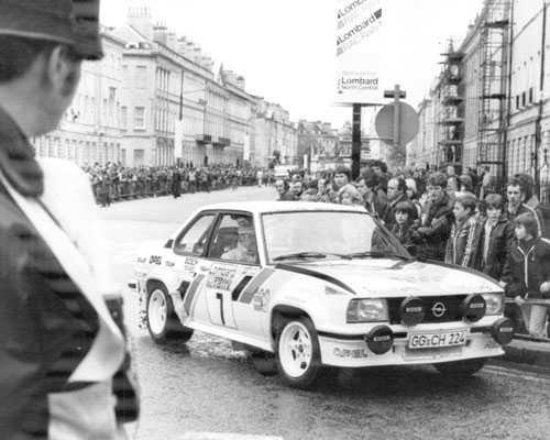 RAC-rallyt i London 1980 i en Opel. Kulläng slutade femma.