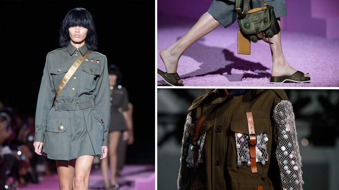 Den militära trenden sågs bland annat hos Marc Jacobs och Rodarte