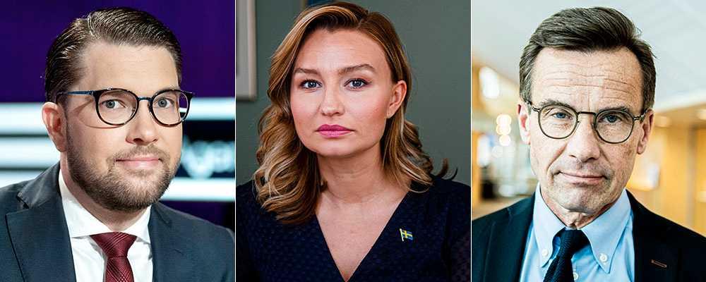 """Jimmie Åkesson (SD), Ebba Busch (KD) och Ulf Kristersson (M) –skyller gärna på """"dålig integration"""", skriver Somar Al Naher."""