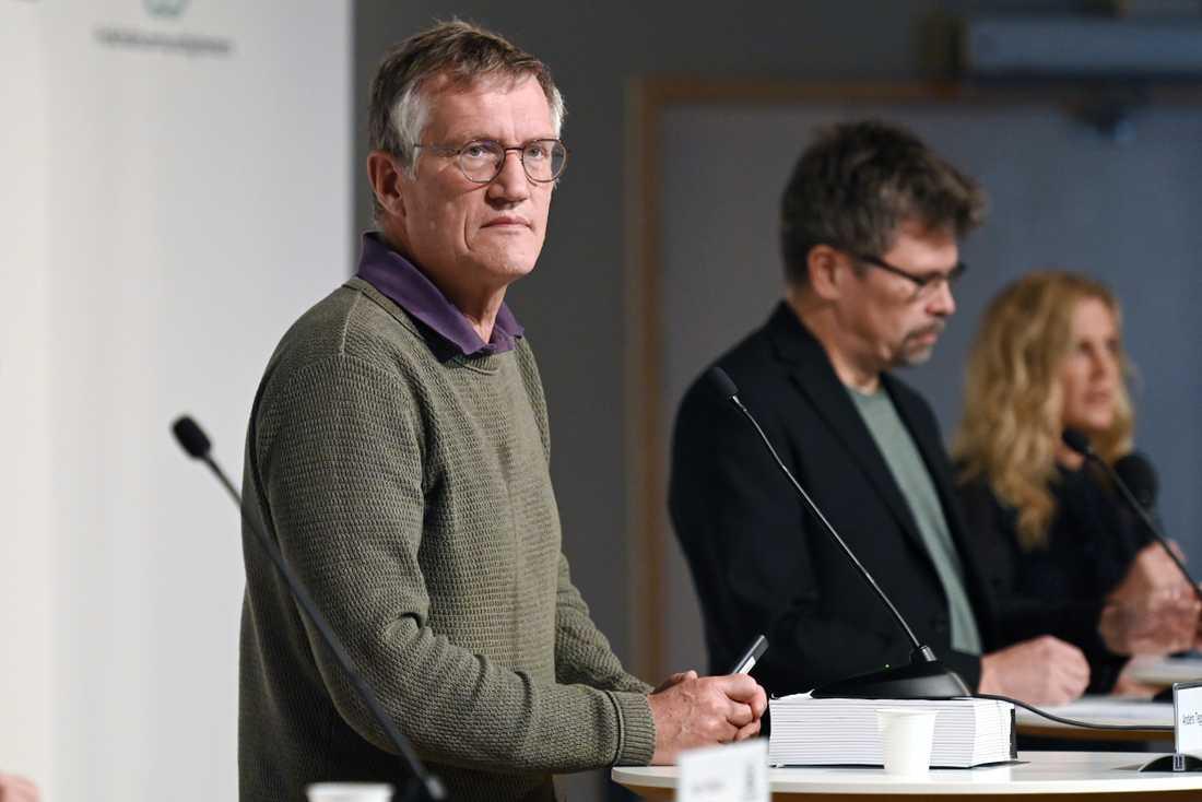 Anders Tegnell under tisdagens presskonferens.