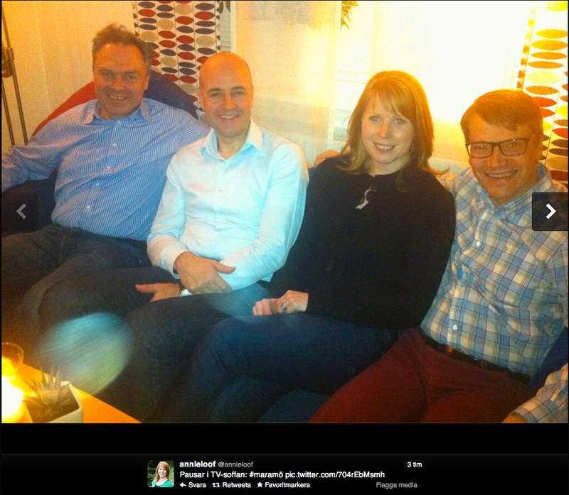 Soffgruppen Alliansen. Från vänster i bild Jan Björklund (FP), Fredrik Reinfeldt (M), Annie Lööf (C) och Göran Hägglund (KD).