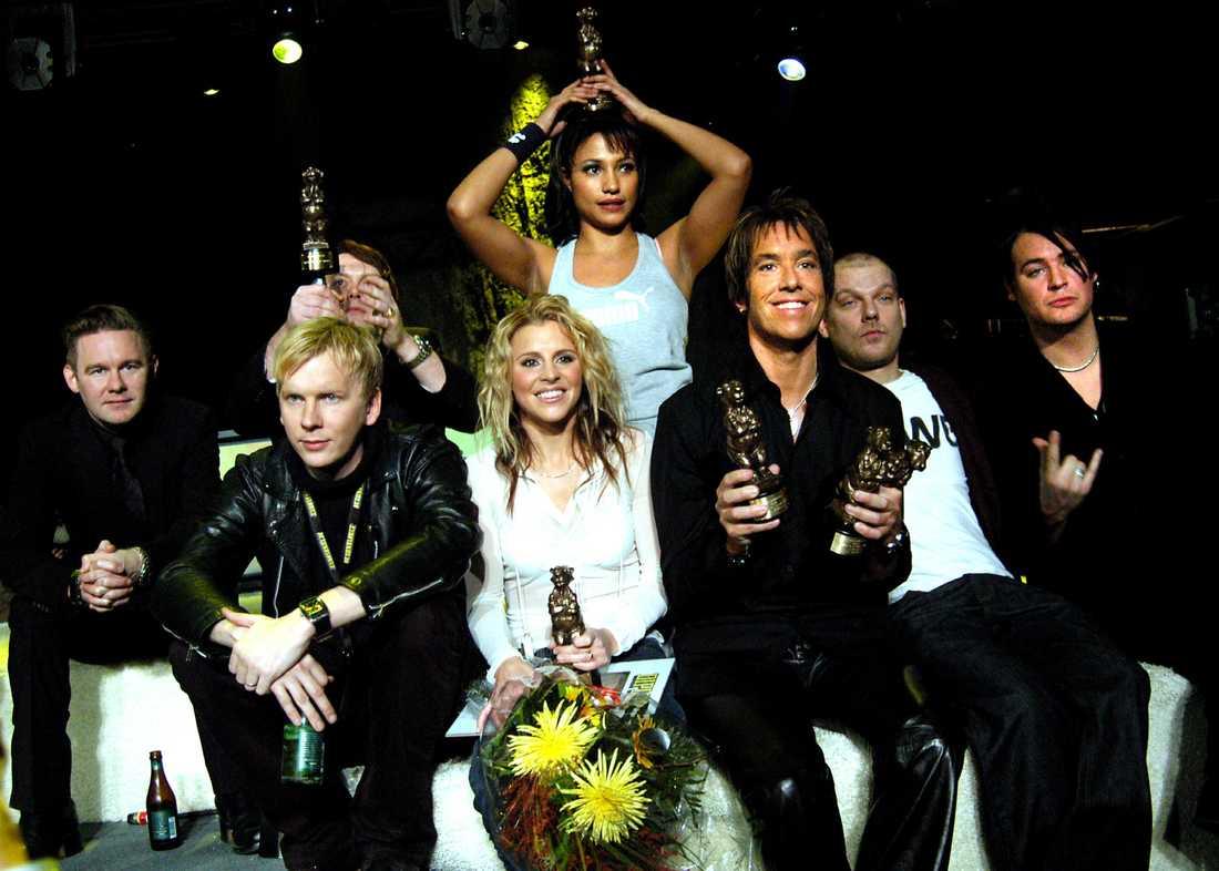 Vinnargänget 2004 Kent, Lisa Miskovsky, Per Gessle och Pauline.