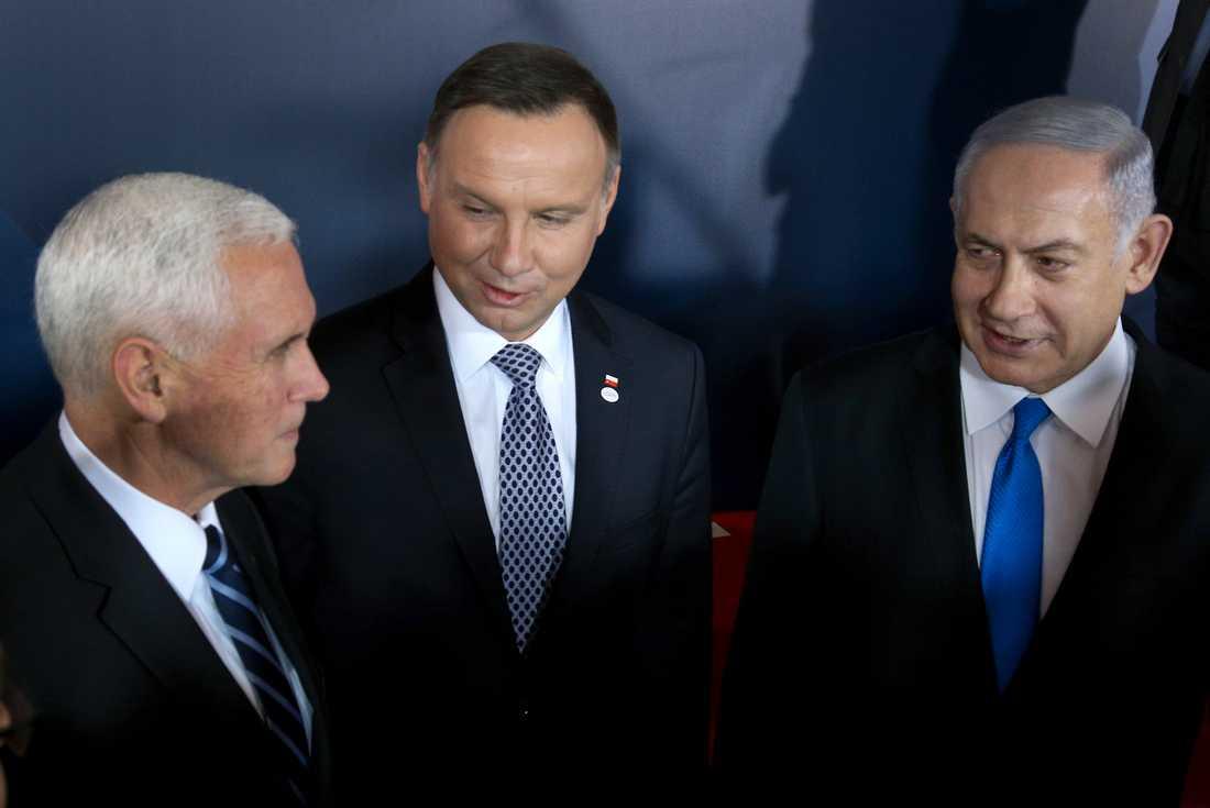 Från vänster: USA:s vicepresident Mike Pence, Polens president Andrzej Duda och Israels premiärminister Benjamin Netanyahu under mötet om Mellanöstern i Warszawa.