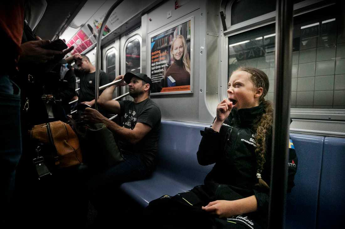 – Nu ska jag vila, landa, och vänja mig vid livet här på något sätt, berättar Greta Thunberg i New Yorks tunnelbana.