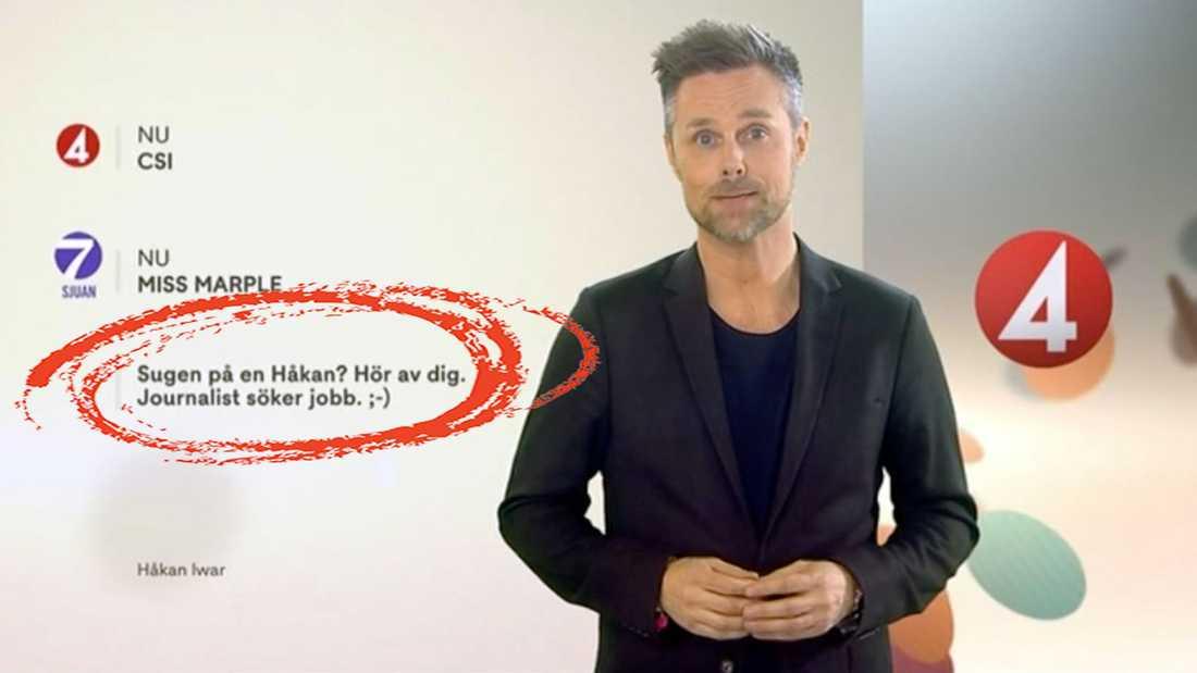 Sista hallåan i rutan, Håkan Iwar i TV4, passade på att söka nytt jobb i sin sista sändning.