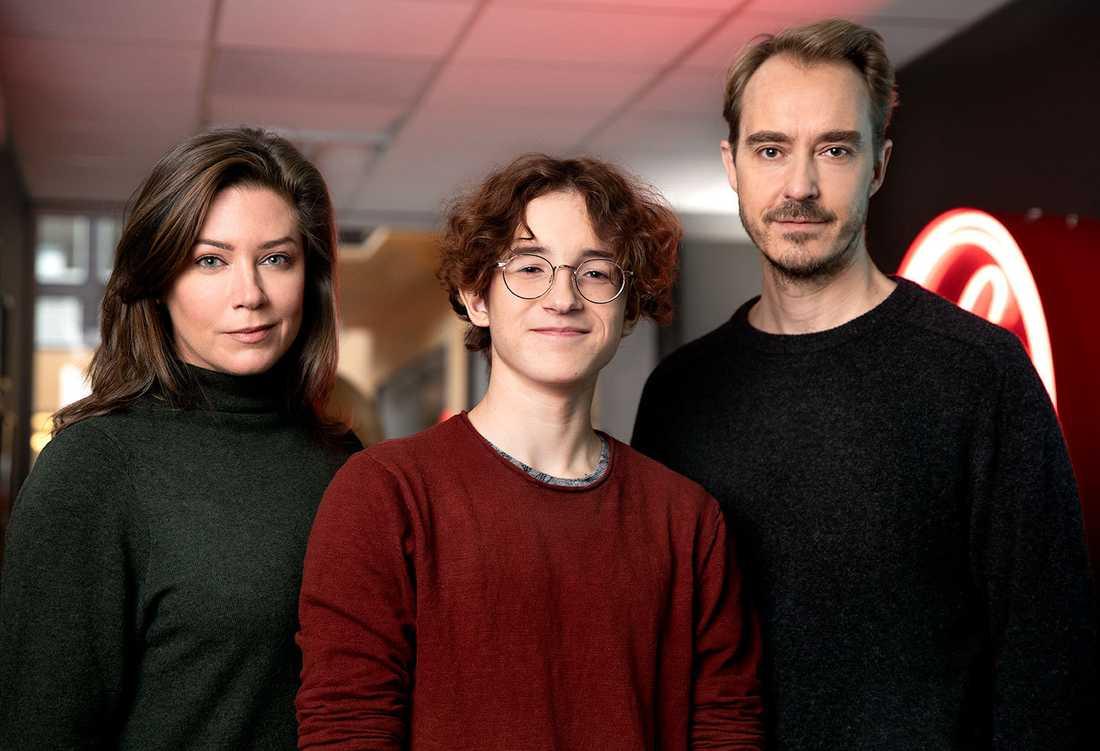 Jennie Silfverhjelm, Simon Larsson och Jonas Karlsson. Pressbild.