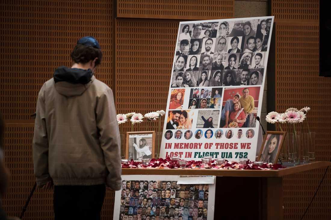 En man i Kanada tittar på foton av några av de 176 som dog när ett ukrainskt passagerarplan störtade utanför Teheran den 8 januari.
