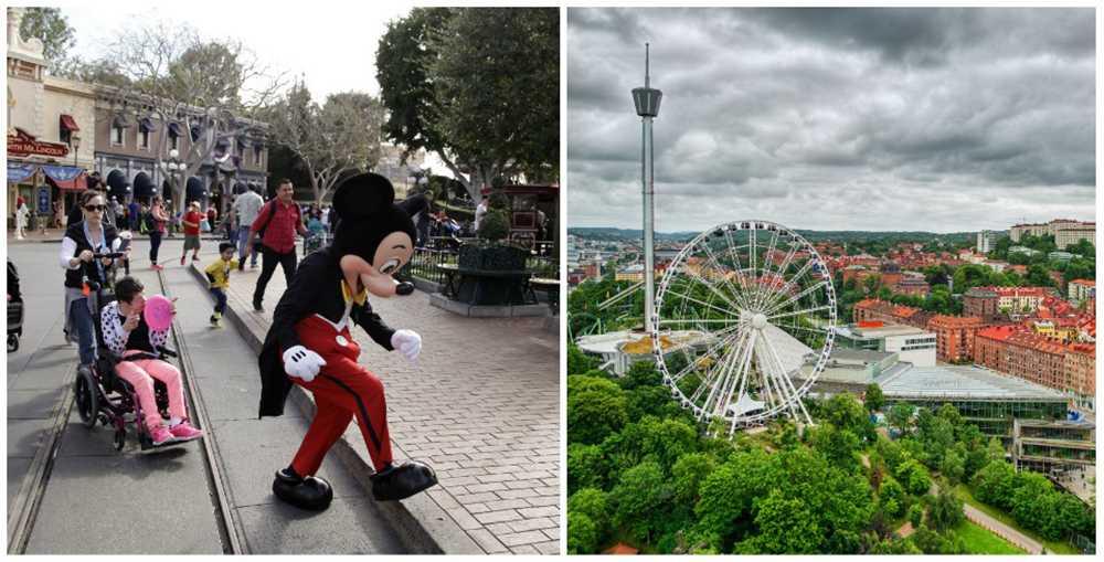 Populära resmål. Disneyland och Liseberg.