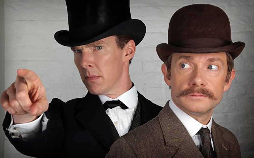 """Benedict Cumberbatch är Sherlock Holmes och Martin Freeman är Dr Watson i den populära brittiska serien """"Sherlock""""."""