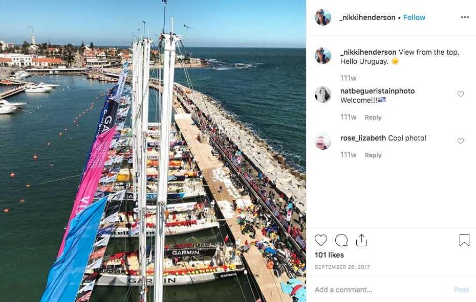 I Uruguay klättrade Nikki Henderson upp i masten på båten Visit Seattle och tog den här bilden.