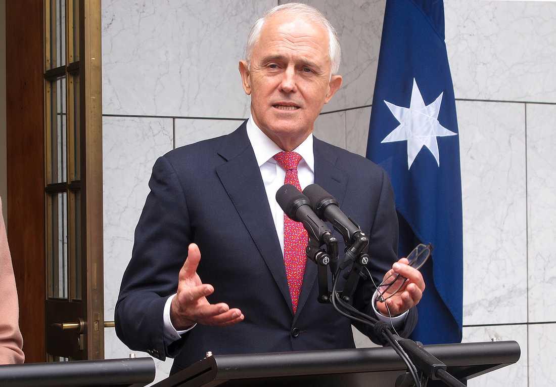 Australiens premiärminister Malcolm Turnbull vid en presskonferens i Canberra på tisdagen.