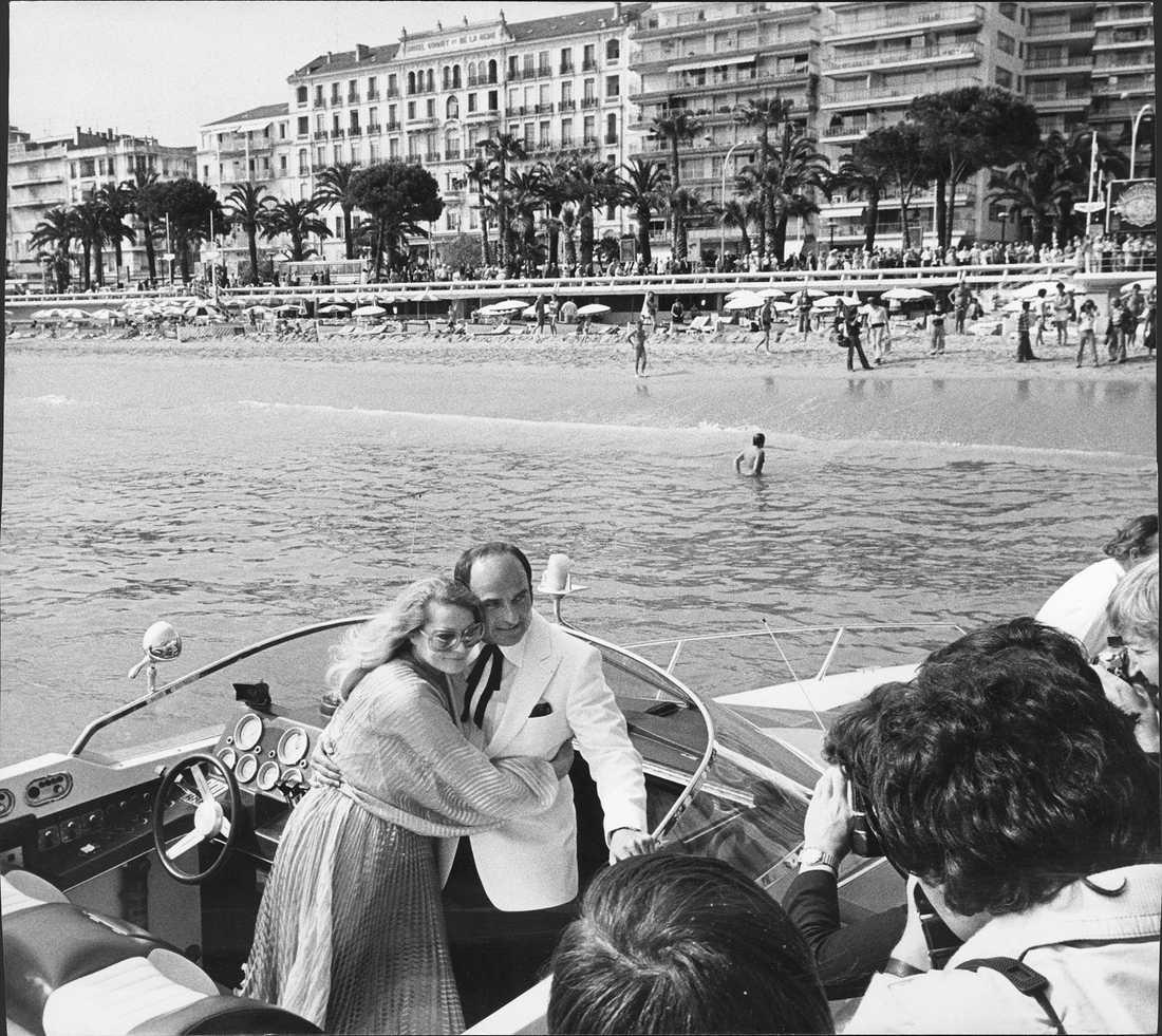 Filmfestivalen i cannes 1978. Anita Ekberg och sambo Fred Berhoff.