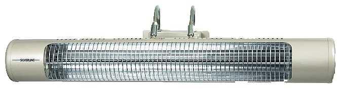 Elektrisk infravärmare för vägg- eller takmontage på balkong eller i uterum. Utrustad med två effektlägen. Täcker en yta på cirka 10 kvadratmeter. Miljöcenter, 1200 kr