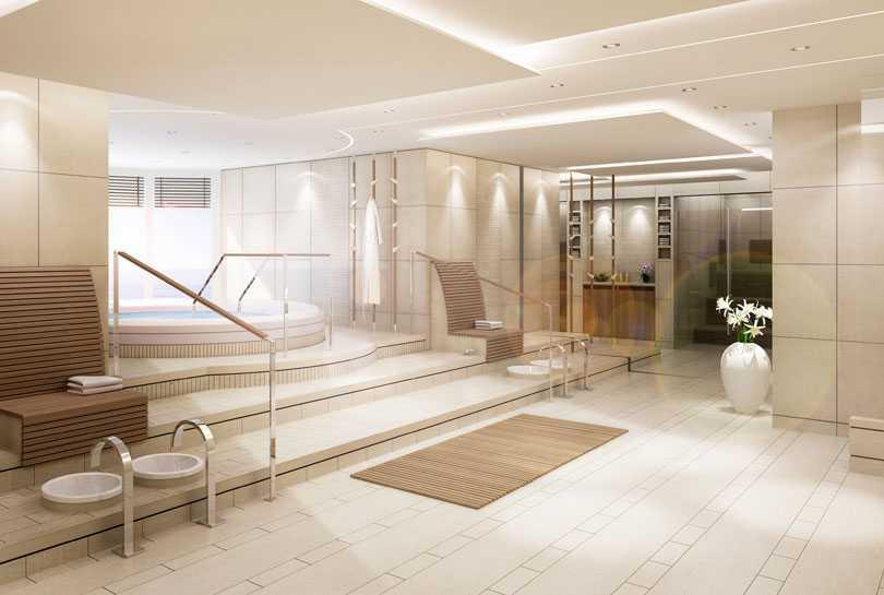 Heta bad och varm bastu i spa-avdelningen.