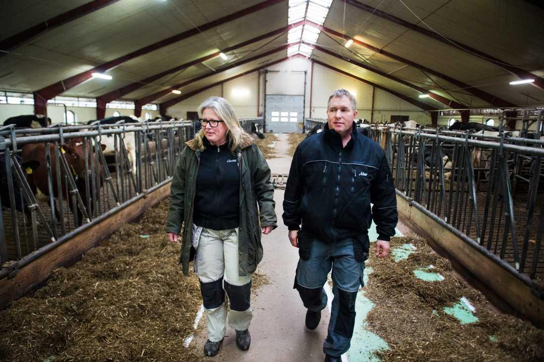Mjölkbönderna Carina och Alvar Sonesson i skånska Stockamöllan tar situationen med virusutbrottet på allvar, men än så länge rullar allt på som vanligt på Gunnaröds gård. Arkivbild.