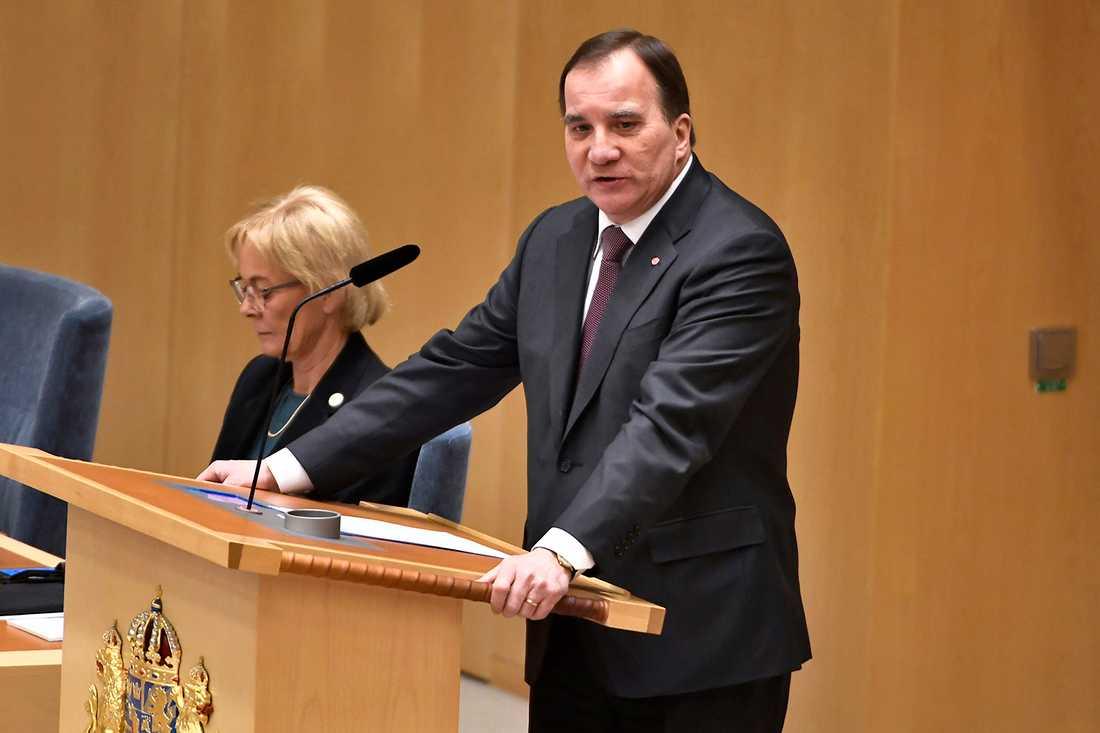 Statsminister Stefan Löfven (S) under partiledardebatt i riksdagen i Stockholm.