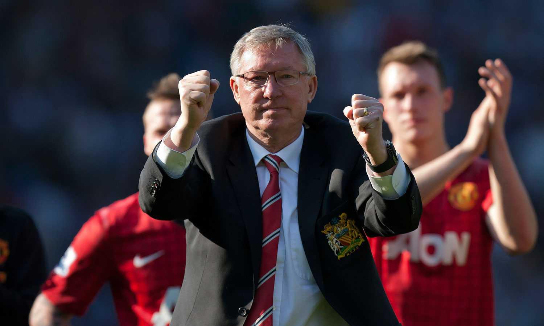Alex Ferguson som vi blev vana att se honom – jublande i Manchester United.