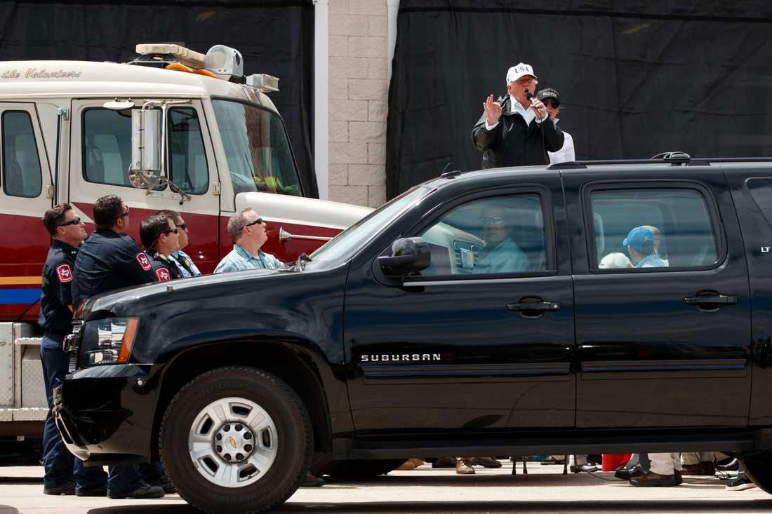 President Donald Trump talar i  Corpus Christi, Texas.